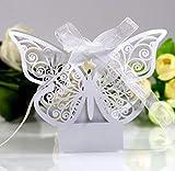 ikesoce 30 pezzi scatola regalo di nozze perlato bianco farfalla scatolina portaconfetti scatola bomboniera scatole caramella con nastro per matrimonio anniversario addio al nubilato natale