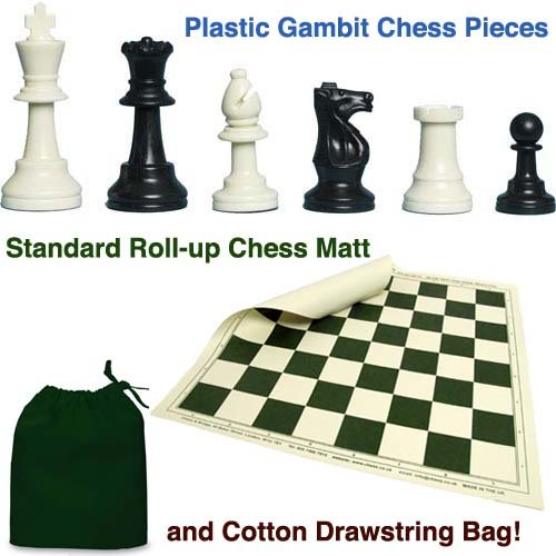 Plastic Gambit Chess Set, Roll-up Mat and Plastic Box by Chess and Bridge