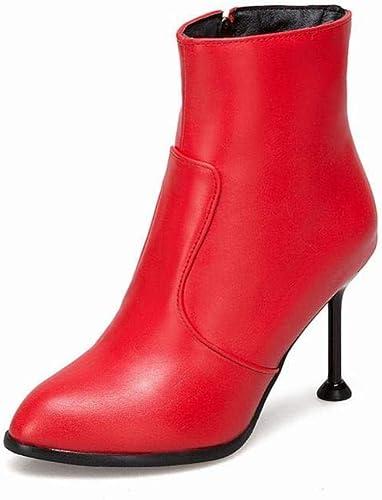 ZHRUI botas para mujer - Calzado de Moda de tacón Alto de Invierno Stiletto botas Cortas botas Martin 34-43 (Color   rojo, tamaño   37)