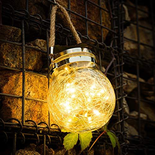 Lanterna Solare Esterno, 30 LED Lanterna Solare di vetro, Lanterna Sospensione Solare Impermeabile Decorativa, per Giardino, Terrazza, Gazebo, Esterni Interni Festa, Matrimonio (Bianco Caldo)