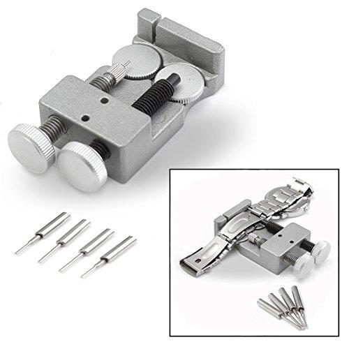 OFKPO Tornillo de Doble Reloj Banda Correa Link Pin Remover Kit de Herramientas de Reparación con 4 Pines Extra para Todo Tipo de Metal Reloj Banda o Pulseras para Relojeros