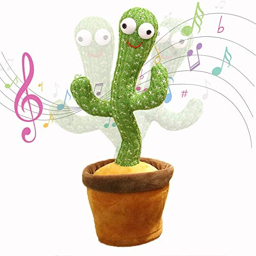 Electronic Shake Dancing Cactus Plush Toys Singing and Dancing Cactus Electronic Toy Repeat Duck for Home Office (120 Recording Learn Tongue USB Charging Model Cactus)