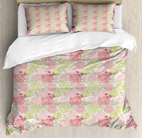 ABAKUHAUS Bloemen Dekbedovertrekset, Het neerstrijken Vogels op bloemblaadjes, decoratieve 3-delige bedset met twee sierslopen, Veelkleurig