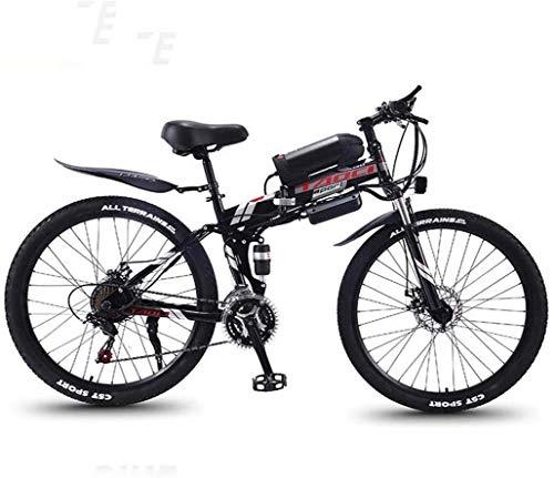 "Smart Ebike Berg, 26"" Mountainbike for Erwachsene, Gelände 27-Gang-Fahrräder, 36V 30KM Reine Batterie gefahrene Abnehmbarer Lithium-Ionen-Akku, (Color : Black red A1, Size : 8AH/40km)"