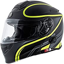 TORC Unisex-Adult Full-face Style T28B Bluetooth Integrated Motorcycle Helmet With Graphic (Matte Black Hiviz Yellow, X-LARGE)