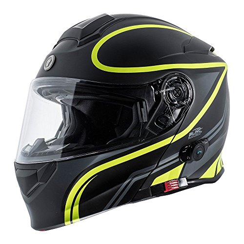 TORC Unisex-Adult Full-face Style T28B Bluetooth Integrated Motorcycle Helmet With Graphic (Matte Black Hiviz Yellow, MEDIUM)