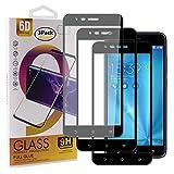 Guran [3 Pezzi Pellicola Vetro Temperato per ASUS Zenfone 3 Zoom S ZE553KL / Zenfone3 Zoom Smartphone Copertura Completa 9H Durezza HD Pellicola Protettiva - Nero