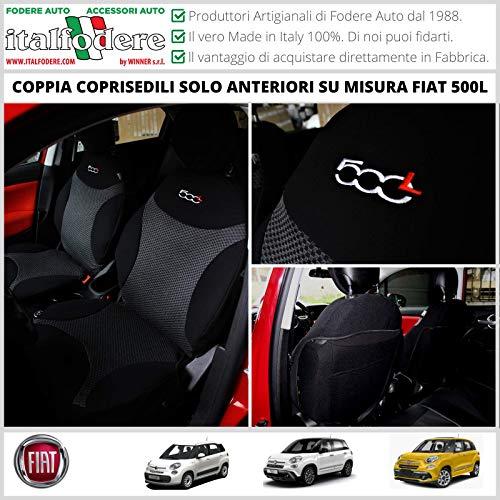 COPPIA COPRISEDILI BICOLORE Anteriori FIAT 500L Fodere Fodere Schienali Copertine...