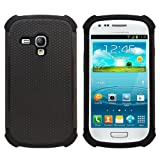 Fenzer Black Hybrid Rubber Matte Hard Case Cover for Samsung Galaxy S3 Mini Cell Phone