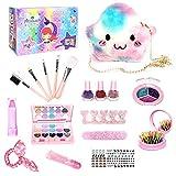Kit de maquillaje para niñas, maquillaje para niñas y mi primer bolso para niños pequeños Regalos para niñas que incluyen bolso de princesa rosa, lápiz labial/rubor