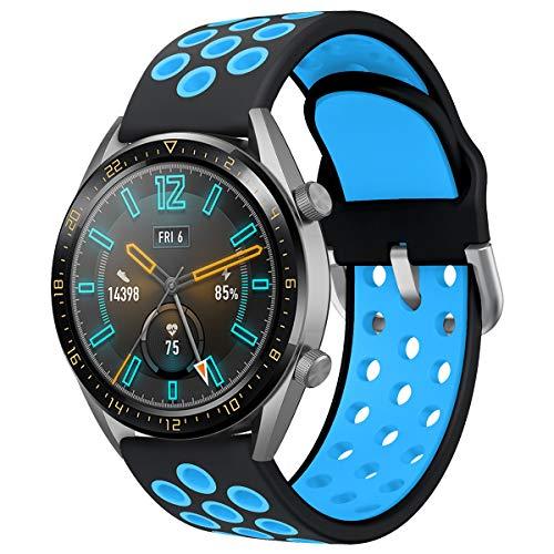 AOTVIRIS Compatible con Correa Huawei Watch GT 2 46mm/GT 2 Pro/Huawei Watch GT 2e/Huawei Watch GT Sport/Active/Elegant/Fashion 22mm Banda Silicona Pulsera para Galaxy Watch 46mm/Gear S3 Frontier