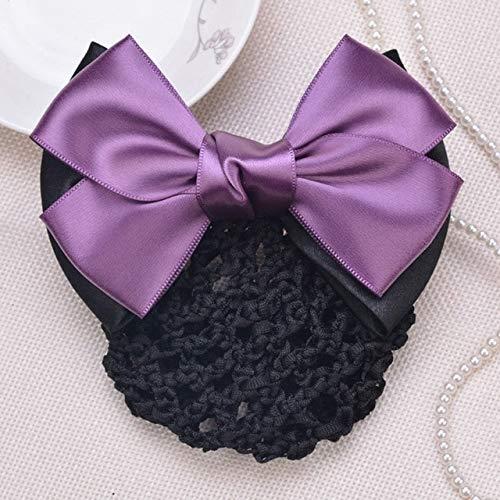 TSEINCE Pinces à Cheveux Maille Cheveux Corde Satin Arc Barrette Pince à Cheveux Couverture Bowknot Bun Snood Cheveux Accessoires Violet