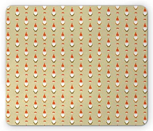 Alfombrilla De Ratón Alfombrilla Antideslizante Elfo con Barba Y Sombrero Setas Sala De Juegos De Hadas Jardín Alfombrilla De Goma Antideslizante Mouse Pad