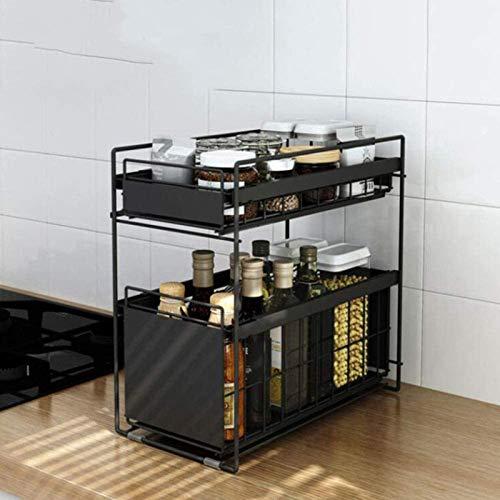TZUTOGETHER Especiero de pie,diseño de cajón extraíble,organizador de estante apilable de 2 niveles con cajón de almacenamiento deslizante,para latas de especias,frascos de salsa,despensa para botella
