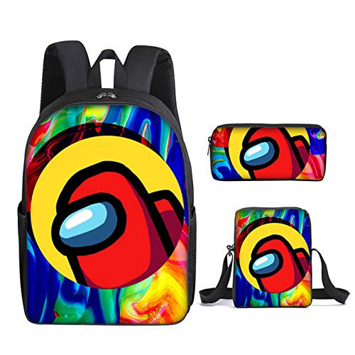 Among US 3pcs Backpack, Kids School Bags Student Bookbag for Girls Teens Game Fans Gifts, Among US Game Printing Bags, Teenage Boys Girls School Bag Travel Bag Pencil Case (21)