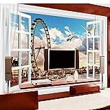 Rueda de la fortuna de Londres, Inglaterra Big Ben 3D TV Wall Custom Large Mural Green