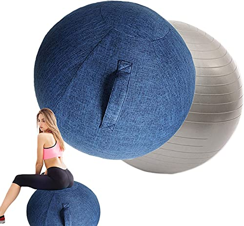 LIMIAO Balance Ball Chairs Cover,Stability Balance Yoga Ball for Office Cover,55/65/75cm Yoga Ball Chair Cover for Dorm and Home Muscle Training Fitness,Blue,65cm