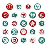 GWHOLE 24 24 Navidad Broches con Imperdibles Pines con Número 1-24 Calendarios de Adviento Insignias Adornos Clavada Componentes de Cuenta Regresiva -3,2cm