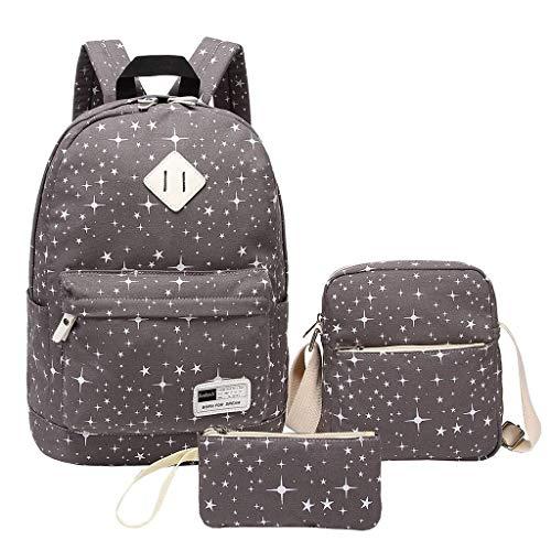 Tigivemen2019 New 3PC Canvas Laptop Star Handbag Shoulder Backpack Purse Bags for Women Ladies Girl