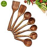 Cosyres - Juego de utensilios de cocina de madera natural para cocinar, utensilios de cocina, antiarañazos y resistente al calor japonés