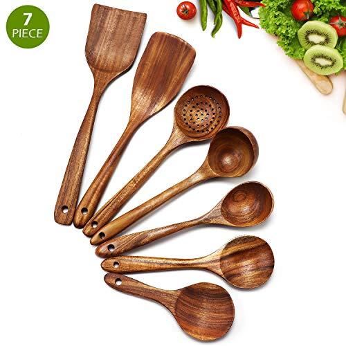 Cosyres - Juego de utensilios de cocina de madera natural pa