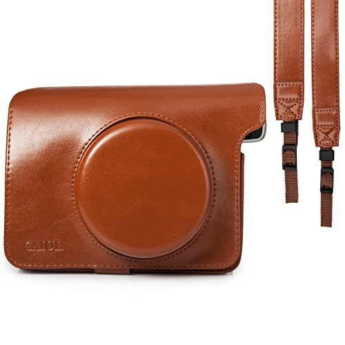 CAIUL Compatible Comprehensive Protection Instant Film Camera Case Bag with Soft PU Leather Material for Fujifilm Instax Wide 300 Camera [Ever Ready Design] (Brown)