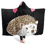 Shenguang Wearable Hoodie Blanket Hedgehog Love Hooded Throw Wrap Cape Cloak Pullover Mujeres a Prueba de Viento TV Películas Chal Franela con Mangas