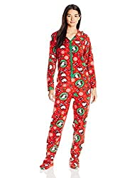 Women's Ugly Holiday Footed Pajamas With Hood