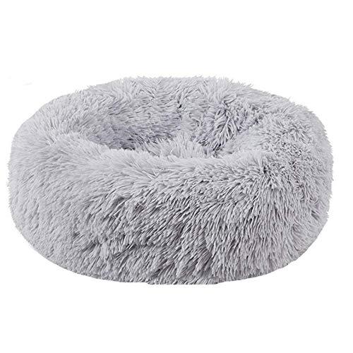 BVAGSS Soft Cuscini Letti Letto per Animali Rotondo Caldo Morbido soffice Peluche Sleeping Sofa per Gatti e Cani XH034 (Diameter:50cm, Light Grey)
