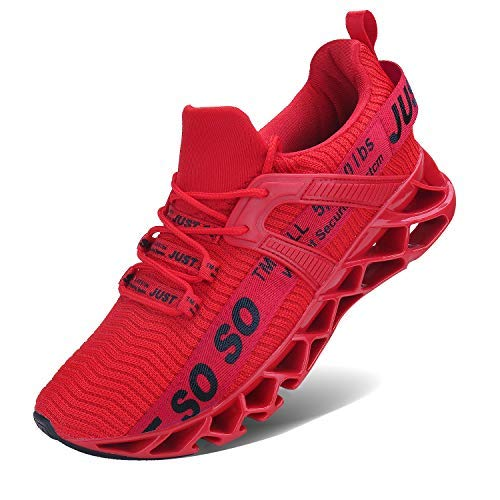 COKAFIL Mens Walking Shoes Running Athletic Fashion Tennis Blade Sneakers, E-red, 9