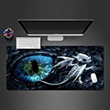 Mouse pad Large Office Desk Mat Blue Eye and White Dragon Comfortable Gaming Mouse Pad Laptop Desk Mat Waterproof Desk Writing Pad for Office and Home-700x300mm KHCjnd406