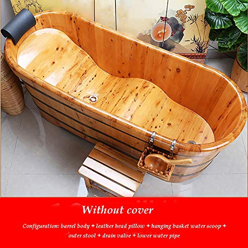 LOHOX Zedernholzqualität Badewanne Erwachsene Bad Sauna Barrel Eimer Dicke abgerundete Kante 1.2M-1.7M Ergonomisches Kurvendesign Tragfähigkeit 150kg with Soft Headrest + Hanging Basket