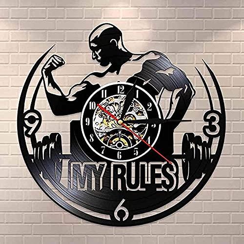 BBZZL Mis Reglas Citas Inspiradoras Colgante de Pared Arte Gimnasio Reloj de Pared Hombres musculosos pesaje Disco de Vinilo Reloj de Pared Gimnasio Reloj Decorativo