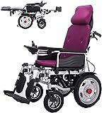 FGVDJ Faltbarer Hochleistungs-Elektrorollstuhl mit Verstellbarer Kopfstütze und Pedal,Joystick, Antrieb mit Elektroantrieb oder Verwendung als manueller Rollstuhl