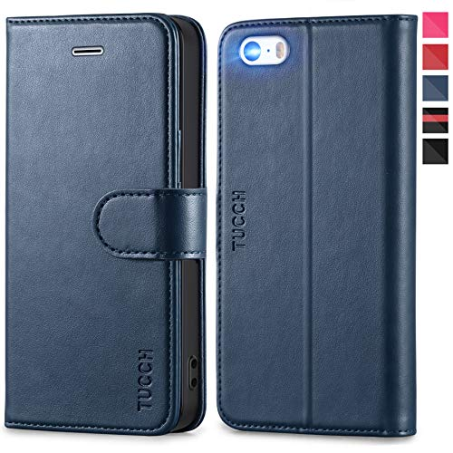 TUCCH iPhone SE Hülle, 5s Handyhülle im [Buchstil] [Softer TPU] Schutzhülle PU-Lederhülle Handytasche [Aufstellfunktion] Kartenfach Magnet Kompatibel für iPhone SE/5S/5, Pink