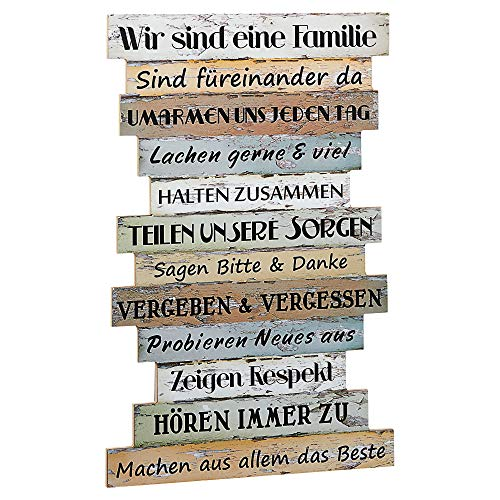 Bild Planken-Schild - Familienregeln ~ Lv KW 11