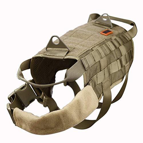 OneTigris Taktische MOLLE Weste Geschirr Hundegeschirr Hundeausbildung (L, Khaki) |MEHRWEG Verpackung