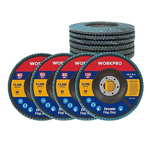 WORKPRO 10 PC Discos Abrasivo Disco de Láminas Disco para Amoladoras Angulares ø 125 mm, Muilti granos 40,60,80,120, para Acero Inoxidable, Metal/Acero y Madera