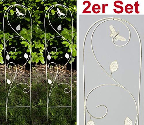 GeKi Trend 2er Set Rankhilfe Rankgitter Eisen Metall antik weiß 21 x 102 cm groß Libellen-Schmetterling