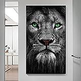 Leoni bianchi neri Occhi verdi Pittura a olio su tela Animali moderni Poster e stampe Immagine di arte della parete per la decorazione della casa del soggiorno 20x35 CM (sans cadre)