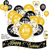 HOWAF 18th Birthday Decoration Kit, Include 9ft/2.7m Happy Birthday Foil Holographic Banner And 18th Birthday Balloons for Girls 18th Birthday Party Decoration Supplies, Black Gold (Age 18)