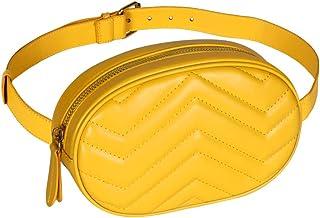 کیف های کمری زنانه Geestock کیف ضد آب PU کیف کمربند Fanny Pack Crossbody Bumbag برای مهمانی ، مسافرت ، پیاده روی (زرد)