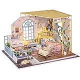 NSWMHDQ Casa de muñecas con Muebles en Miniatura, Prueba de Bricolaje Dollhouse Kit Plus Polvo y Movimiento Música, Idea Creativa de Habitaciones (Poético Vida)