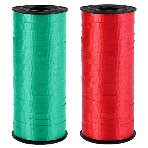 Elcoho 2 Rolls Shiny Christmas Curling Ribbon 0.2 Inch Wide by 300 Yard Spools Metallic Balloon Ribbon Red Dark Green Wrapping Ribbon Rolls for Gifts Christmas Parties Birthday Wedding Holiday Florist