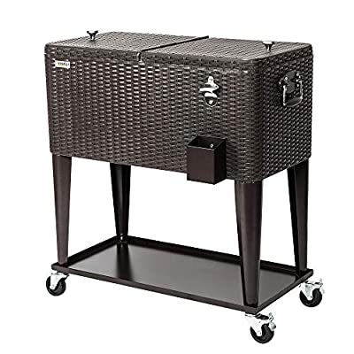VINGLI 80 Quart Rolling Ice Chest on Wheels, Portable Patio Party Bar Drink Cooler Cart, with Shelf, Beverage Pool with Bottle Opener,Water Pipe and Cover (Rattan)