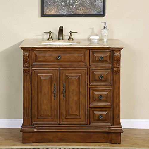 "Silkroad Exclusive HYP-0904-T-UIC-38-L Off Center Single Left Sink Bathroom Vanity with Furniture Cabinet, 38"", Medium Wood"