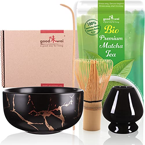 Coffret Matcha Poudre de thé Vert Biologique du Japon - Ensemble à Cérémonie Thé Japonais Kit Complet Bol, Fouet et Porte Fouet - Marbre (Noir)