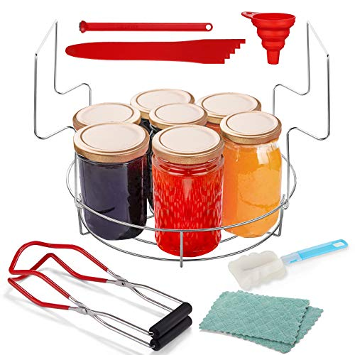 Canning Kits Jar Lifter, Canning Jars Set Canning Funnel, Canning Tongs With Heat Resistant Handles Stainless Steel, Bubble Measurer/Remover Tool for Canning Rack Mason Pot Wide-Mouth (Red)