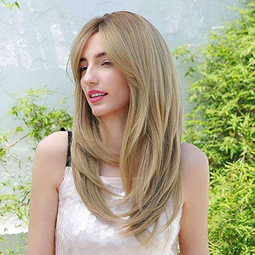 HAIRCUBE Lange Blonde Perücken für Frauen Natürliches Synthetisches Geschichtetes Haar Dunkel Verwurzelt