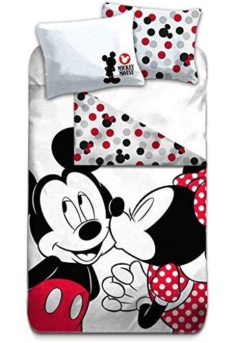 AYMAX S.P.R.L. Mickey & Minnie Mouse Vintage - Juego de ropa de cama (140 x 200 cm, 63 x 63 cm)